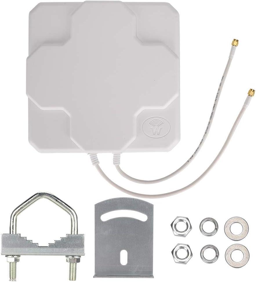 Cosiki 𝐑𝐞𝐠𝐚𝐥𝐨 𝐝𝐞 𝐍𝐚𝒗𝐢𝐝𝐚𝐝 Antena direccional, Antena direccional Plana de Alta Ganancia para Exteriores para enrutador inalámbrico WiFi (SMA Blanco)