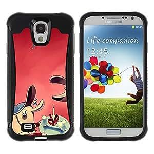 KROKK CASE Samsung Galaxy S4 I9500 - cartoon comic dog bone gift - Rugged Armor Slim Protection Case Cover Shell