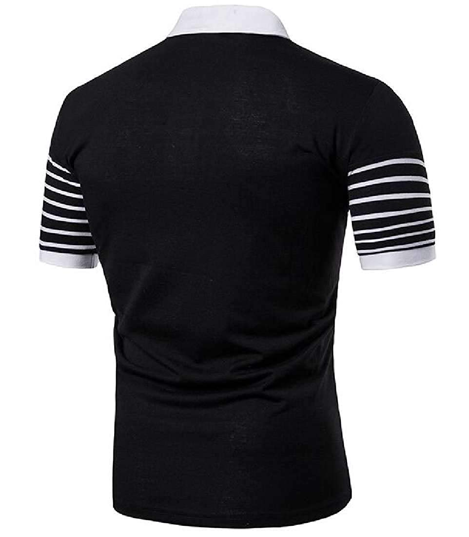 YYG Mens Buttons Classic Lapel Short Sleeve Striped Business Polo Shirts