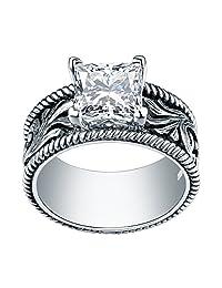 Newshe Vintage 1.8Ct Princess White Cz 925 Sterling Silver Cocktail Gemstone Ring Statement Sz 5-10