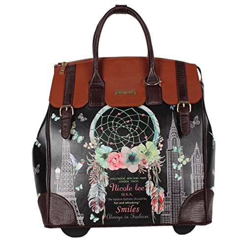 Nicole Lee Women's Exclusive Print Rolling Black Floral Business Laptop Compartment, Wheeled Travel Tote, Dream Comes True, One Size (Floral True Case)