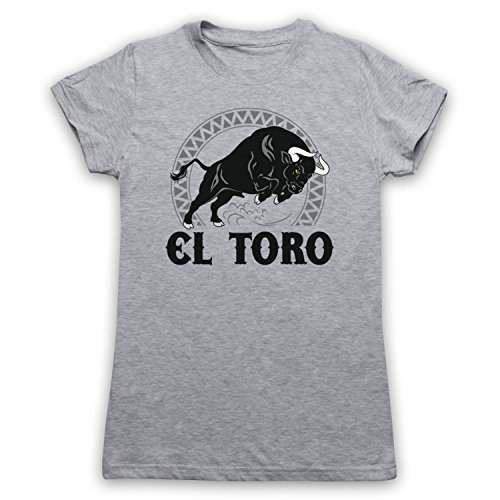 My Icon Women's El Toro Spanish Bull T-Shirt, Light Grey, XL (Light T-shirt Womens Bull)