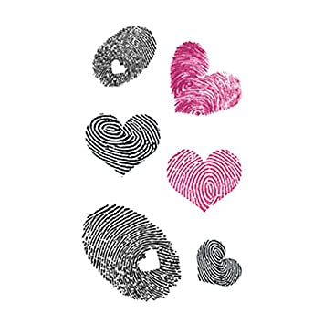 57fbff9a5 Amazon.com : Set of 5 Waterproof Temporary Fake Tattoo Stickers Pink Black  Fingerprint Love Heart : Beauty