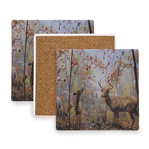 Animal Funny Deer Autumn Fall Scene Coasters, Protect