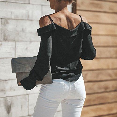 Femme Lache Manches en Pure V Shirt Femme Couleur Sweat paule Chemise Longue Grande Shirt Chemise POTTOA Vrac Polo Femmes Chemise Swag Femme Blouse Manche Femme Col Hors Longues Tee Black en Taille wvaT76