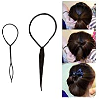Plastic Magic Pull Hair Pin Clip Hair Braid Ponytail Maker Hair Accessories Diy Hair Styling Pony Tail Tool Black (2 pcs…