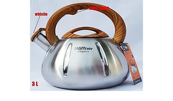Hervidor de agua con silbido (3.0 L estufa de acero ...