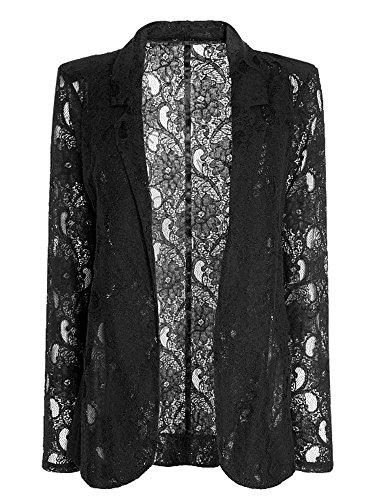 Elegant Women Lapel Black Lace Crochet Hollow One Button Blazer