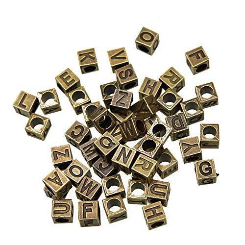 Monrocco 52PCS Antique Bronze Alloy Alphabet Letter A-Z Cube Loose Beads for Jewelry Bracelet Necklace Pendant Making DIY(70mm)