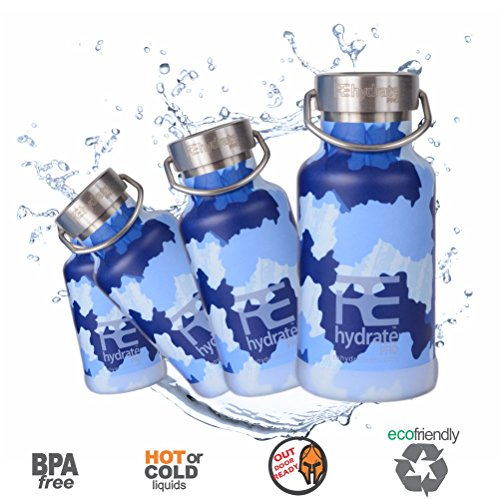 Rehydrate Pro (CamBlue 11.83oz) Junior Kids Insulated Stainless Steel and Environmentally Friendly for Hot or Cold Drinks and Travel. 11.83 Oz Hydration Flask Includes Free 'Flip N Sip' Sports Cap …