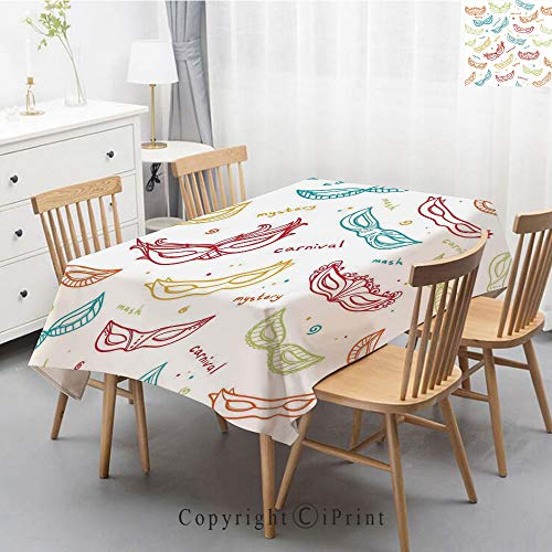 Printed Pattern Washable Table cloth Dinner Kitchen Home Decor Vintage Flower Decorative Square Linen Tablecloth,47x63 Inch,Masquerade,Carnival Masks for Theatrical Venetian Tradition Entertainment Fe
