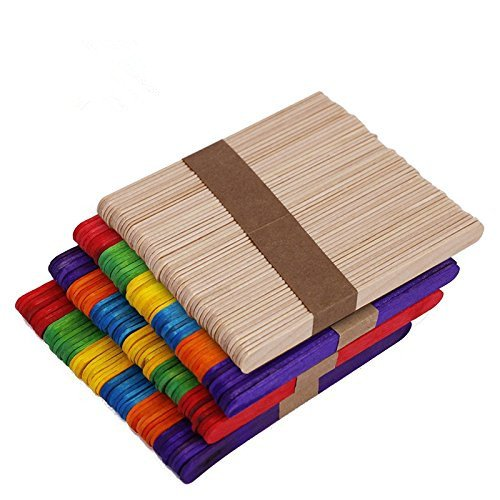 200 Pcs 4.5 Inch Colored Wood Craft Popsicle