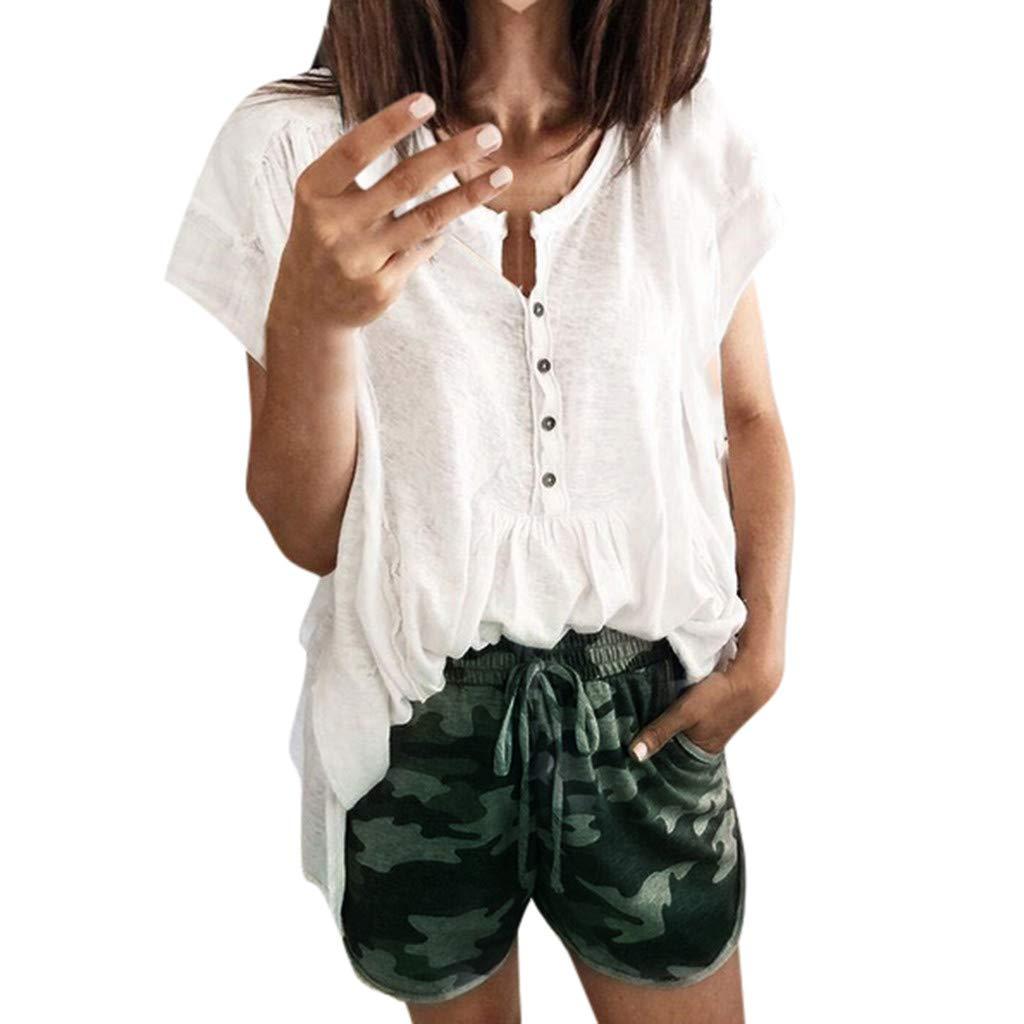 7a37793765b Shorts Camouflage Femme Grande Taille - Sunenjoy Filles Pantalon Court  Sport Taille élastique Pantalon Poche Cordon de ...