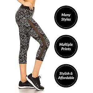 Sejora Satina Yoga Pants & Capris Activewear Exercise Leggings w/Designs & Mesh (Large, 02 Tribal)