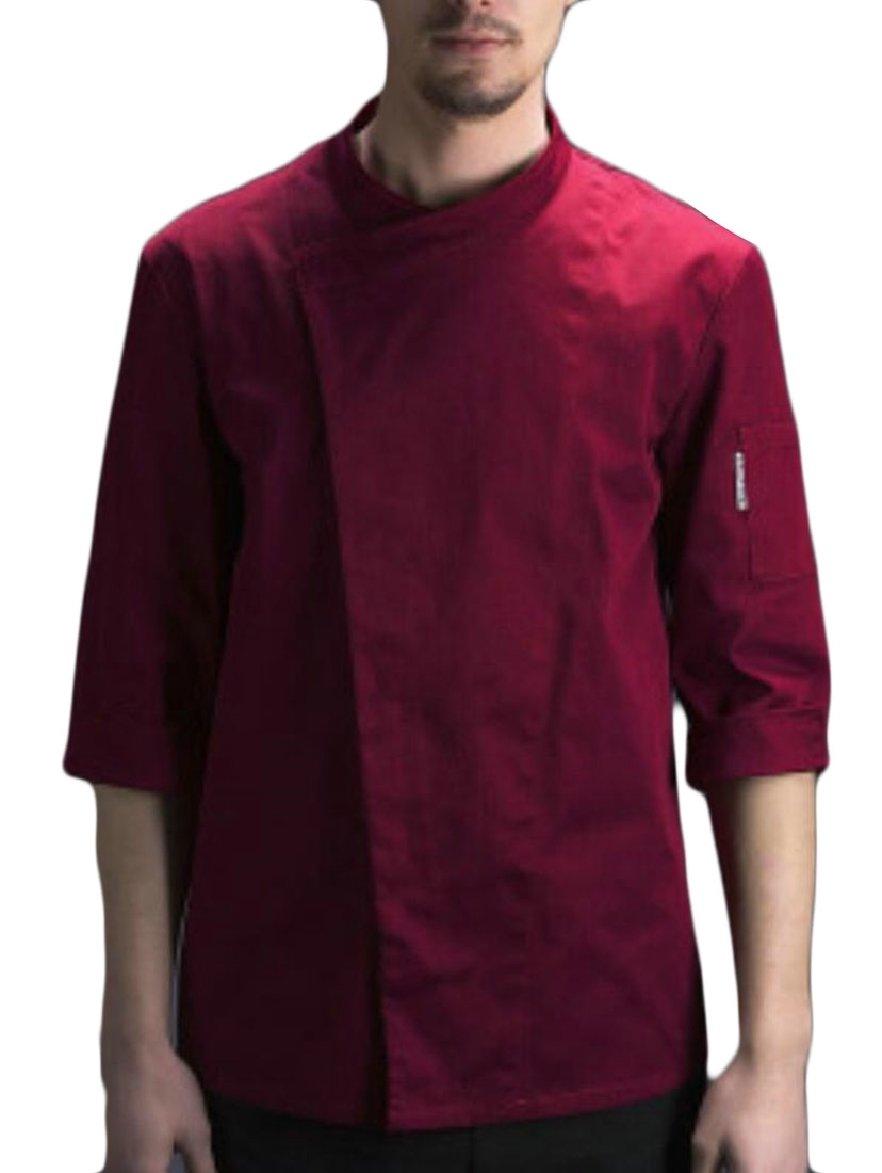 FLCH+YIGE Men Summer 3/4 Sleeve Chef Jacket Kitchen Uniforms