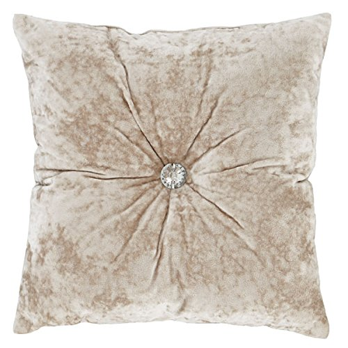Catherine Lansfield Crushed Velvet Filled Cushion Natural, 45x45cm Turner Bianca DS/46254/W/CU45/NT