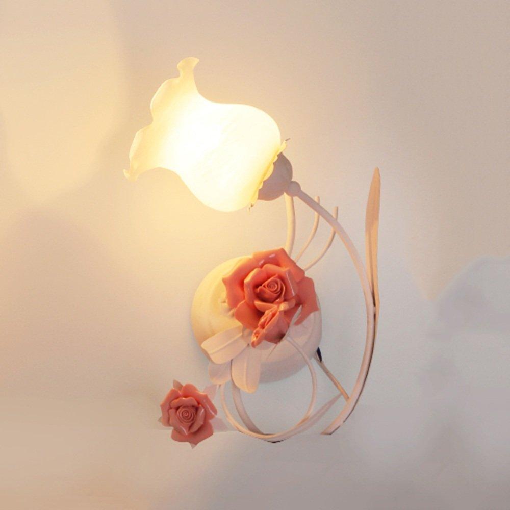 SEXY - Schlafzimmer Nachttisch Wandleuchten Eisen Ländlich Blumen Kinderzimmer Wandlampe Gang Treppe Licht -Wandbeleuchtung Dekoration (Farbe : B)