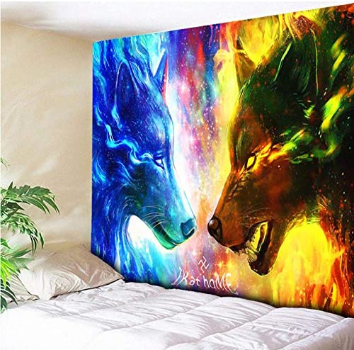 Zhj888 Galaxy Decorative Fire And Ice Wolf Tapestry Wall Hanging Blue Yellow Tapestry 3D Animal Wolf Wall Cloth Beach Towel 78 x59