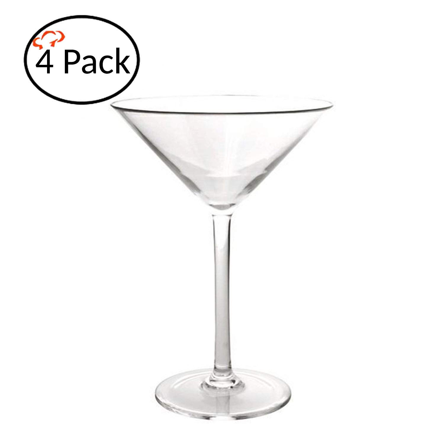 Tiger Chef Polycarbonate Drinking Glasses (4 Pack, Martini 8 Oz)
