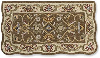 Rectangular Hand Tufted Fire Resistant Scalloped Wool Fireplace Mclean Hearth Rug 25 W X 45 L Brown Gold Clothing