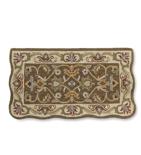 Hand-Tufted Fire Resistant Scalloped Wool Hearth Rug, in Brown/Gold