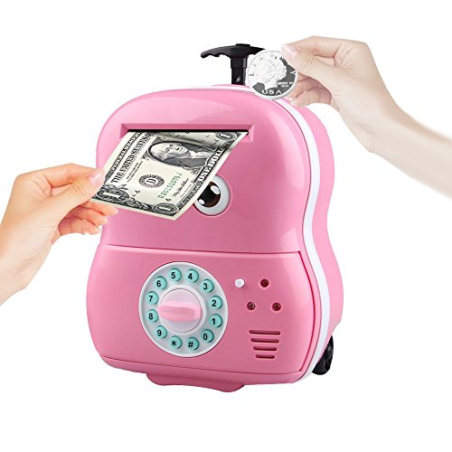 Just Us Big Eyes Cartoon Trolley Electronic Password Piggy Bank with Music ,Pink Electronic Trolley