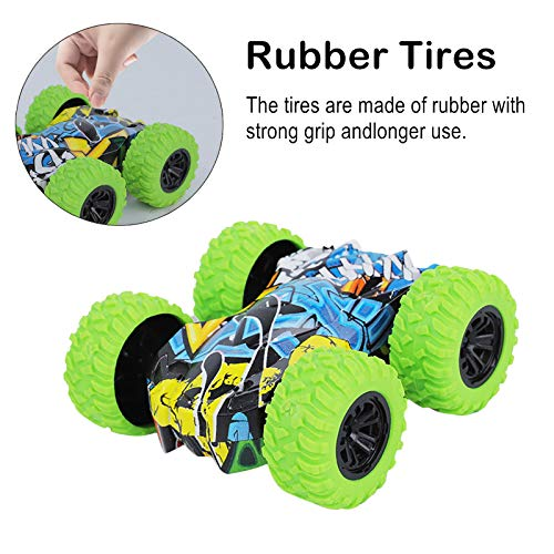 Inertia-Double Side Pull Back Cars Friction Powered Vehicles, Stunt Graffiti Car Off Road Model Toy Car-Blue