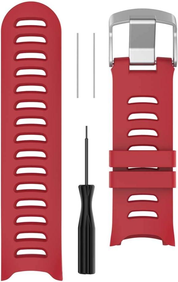 siwetg - Correa de Repuesto de Silicona para Reloj Garmin Forerunner 610 con Herramientas, Color Rojo