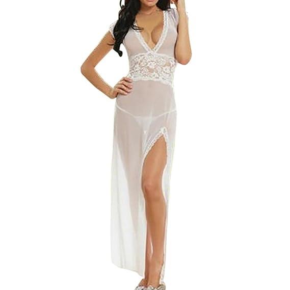 BBsmile mujeres de moda Sexy falda larga V-Neckline Tentación Sexy ropa interior camisón (