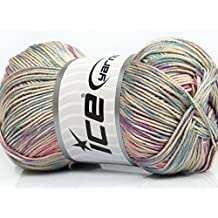 Lot of 4 x 100gr Skeins Ice Yarns TROPICAL MERCERIZED (100% Mercerized Cotton) Yarn Pink Lilac Blue Turquoise Beige