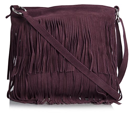 LIATALIA Womens Suede Leather Tassle Fringe Shoulder Bag (Large Size) - ASHLEY Maroon