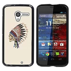 TopCaseStore / la caja del caucho duro de la cubierta de protección de la piel - Indian Headgear Feathers Chief Native - Motorola Moto X 1 1st GEN I XT1058 XT1053 XT1052 XT1056 XT1060 XT1055
