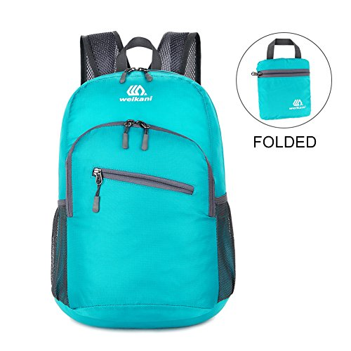 18L Packable Best Camping Travel Backpack Waterproof Lightweight Daypack Men Womens Outdoor Small Sports Bag for Hiking,Traveling,Cycling,Picnic(Light Blue ) (Picnic Backpack Solo)