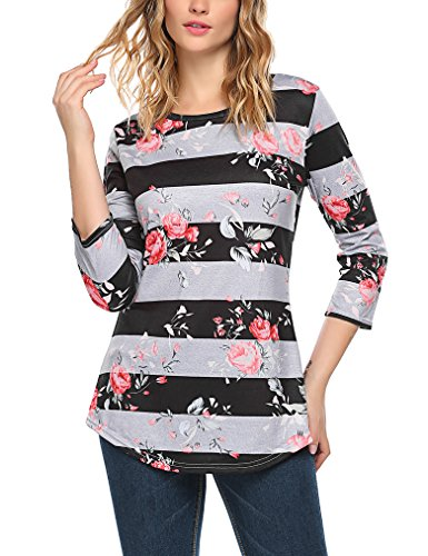 Sherosa Women's Round Collar Floral Printed 3/4 Sleeve Tee Shirt Contrast Color Ladies tops (M, Brown)