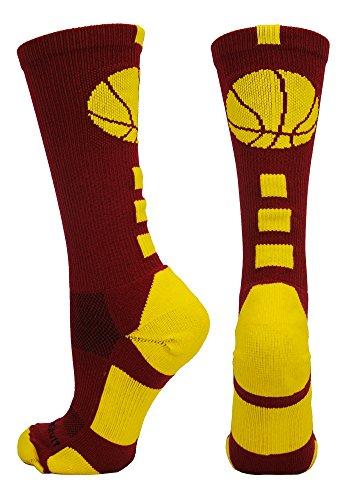MadSportsStuff Basketball Logo Athletic Crew Socks, Medium - Cardinal Red/Gold