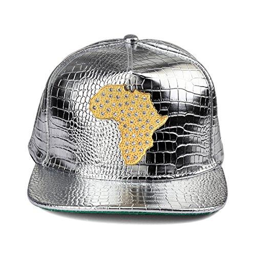 de relieve de de de del de ala plano piel en Hombre sombrero la cuero béisbol plata PU del de del cocodrilo MCSAYS Gorra la serpiente patrón de Mapa África del Snapback Rx0nqqwEg