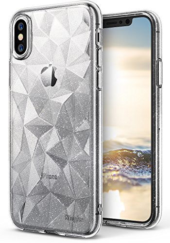 Ringke [Air Prism] Case Compatible with Apple iPhone X, Qi Wireless Charging Compatible Sparkle 3D Stylish Protective TPU Cover for Apple iPhone 10 2017 - Glitter Clear