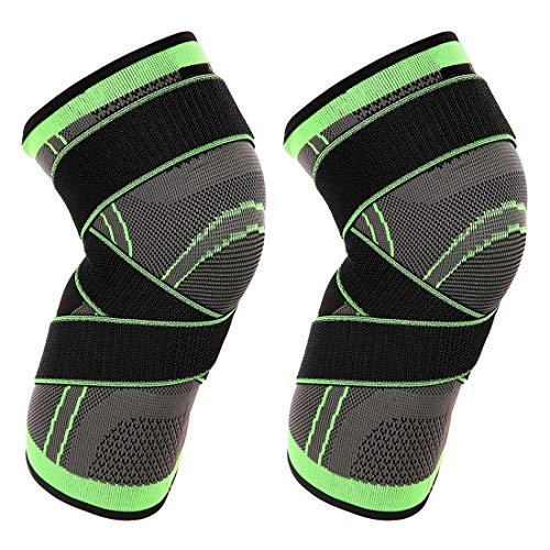 Vitoki Knee Compression Sleeve for Men Women Knee Brace Supports for Basketball Weightlifting Gym Workout (1 Pair Green, XL) (Best Knee Brace For Baseball)