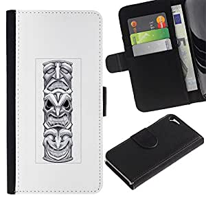 WonderWall Fondo De Pantalla Imagen Diseño Cuero Voltear Ranura Tarjeta Funda Carcasa Cover Skin Case Tapa Para Apple Iphone 5 / 5S - tótem indio nativo americano