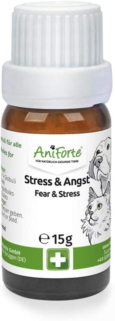 AniForte Glóbulos de estrés y ansiedad Flores de Bach para Perros, Gatos, Mascotas - Calmante y Relajante, Tranquilizante Natural para el Miedo, la ansiedad, los Viajes, el Coche, Las Vacaciones: Amazon.es: Productos