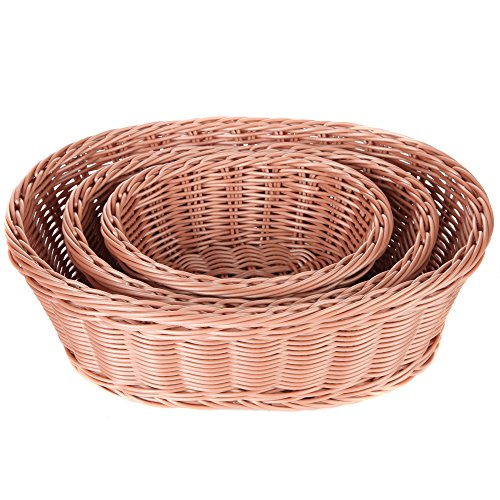 Home-X 3 Piece Wicker Look Nestable Oval Basket Set, Microwavable, and Dishwasher Safe (Oval Shape) (Stacking Baskets Wicker)