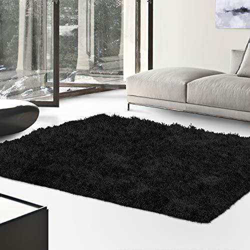 Blue Black Rectangle Rug - Superior Textured Shag Area Rug, Black, 6' x 9'