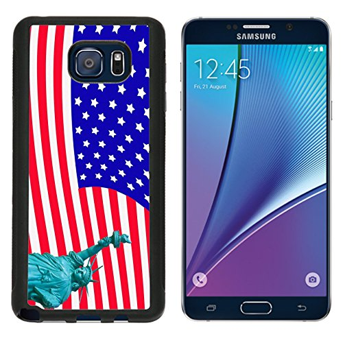 MSD Premium Samsung Galaxy Note 5 Note5 Aluminum Backplate Bumper Snap Case IMAGE ID: 12124211 liberty statute on USA flag background