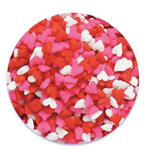 Oasis Supply Valentine's Hearts Sprinkle Quins, 8-Ounce, Red, White and Pink