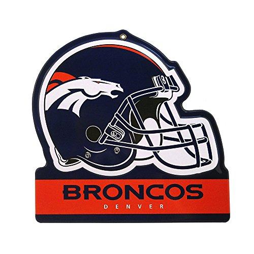- Party Animal Denver Broncos Embossed Metal NFL Helmet Sign, 8