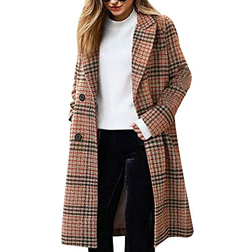 EVEDESIGN Women's Winter Turn Down Shawl Collar Overcoat Double Breasted Wool Coat Camel Double Breasted Silk Coat