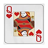 iPrint Polyester Square Tablecloth,Queen,Queen of Hearts Playing Card Casino Decor Gambling Game Poker Blackjack Deck,Red Yellow White,Dining Room Kitchen Picnic Table Cloth Cover,for Outdoor Indoor