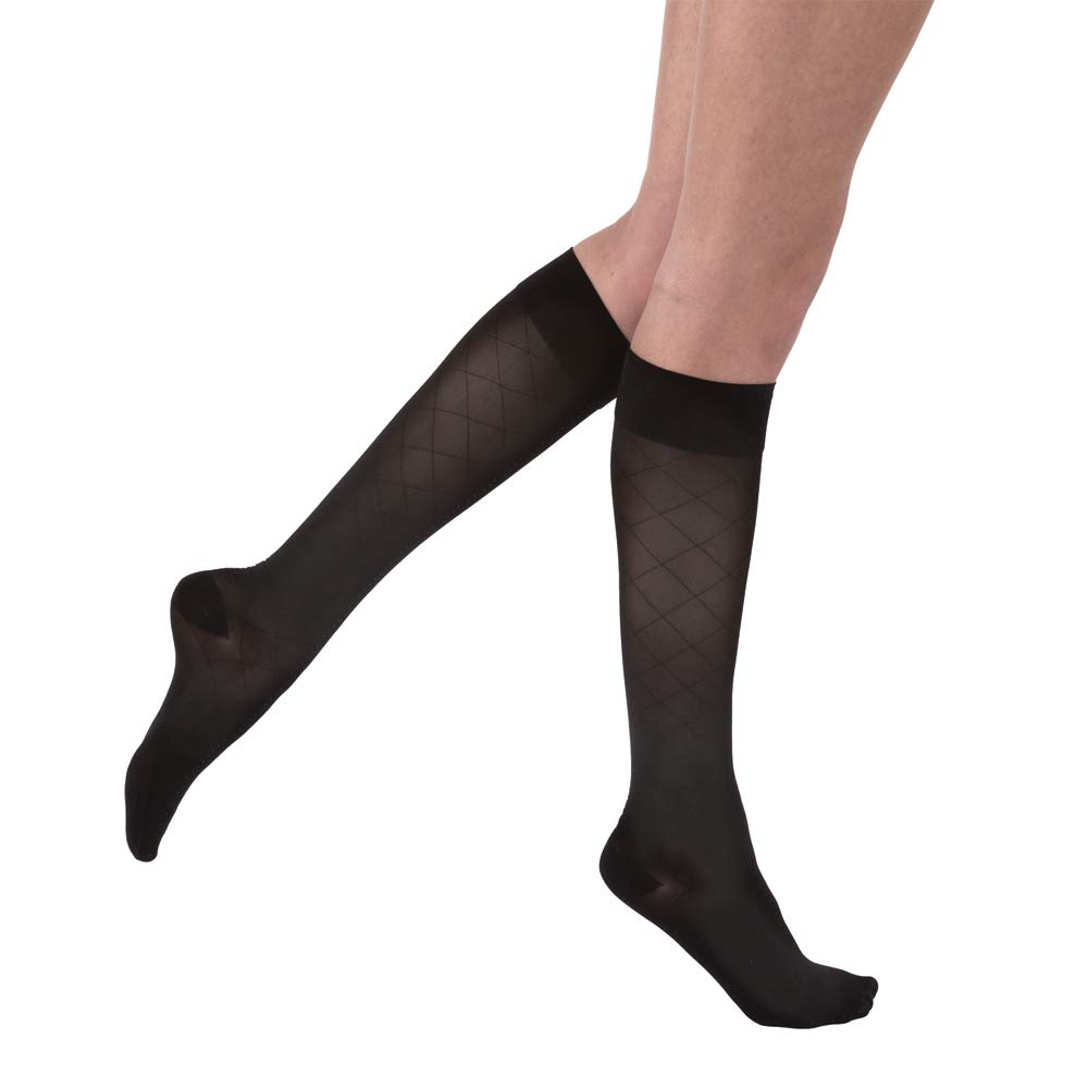 BSN Medical 119170 JOBST Compression Stocking UltraSheer with Closed Toe, Diamond Pattern, Knee High, 15-20 mmHG, Small, Classic Black