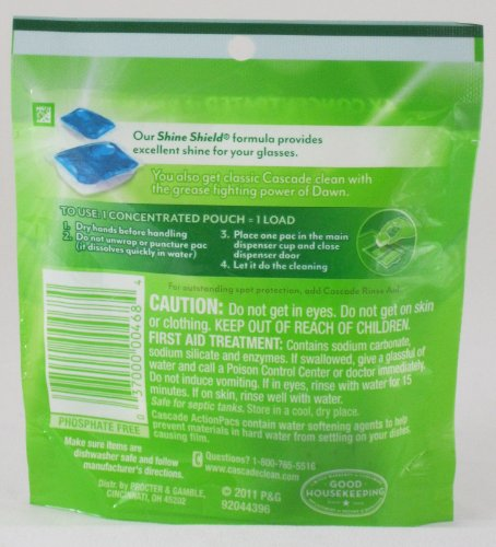 Cascade Actionpacs Dishwasher Detergent, Dawn Fresh Scent, 2