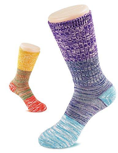 Vero Monte 4 Pairs Womens Colorful Cotton Socks  Size 8 9  Purple   Yellow